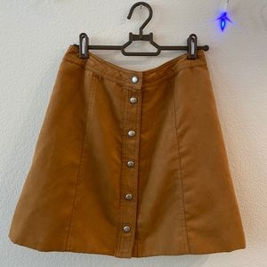 SOLD Rust brown button-up corduroy skirt